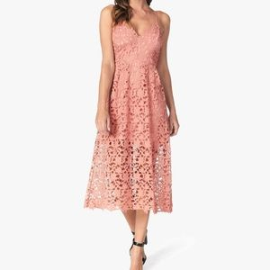 ASTR lace midi color blush and pale pink